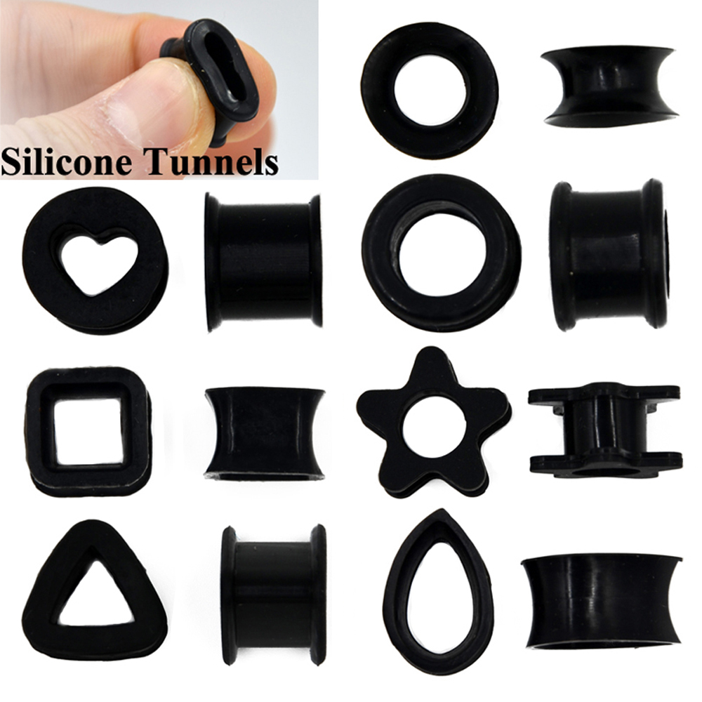 1 Pair Different Shape Silicone Double Flared Ear Plugs Flesh Tunnel Ear Gauge Expander Stretcher Earrings Ear Piercing Jewelry