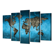 HD Printed 5 Piece Map World Canvas Art Painting Modular Wall Pictures for Living Room Poster Free Shipping Abooly