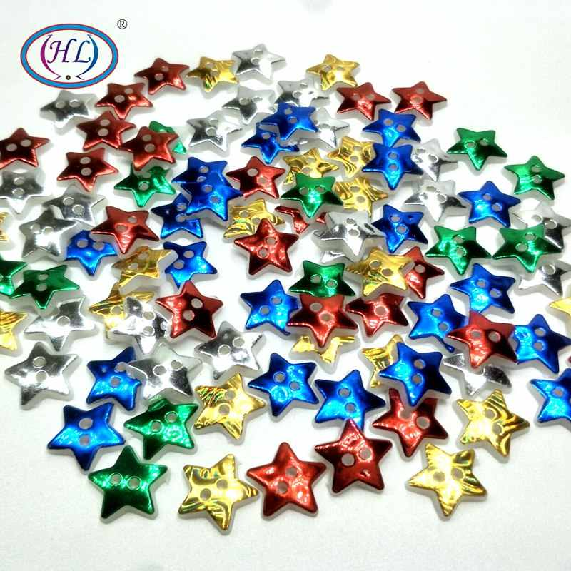 HL 50/100PCS 12MM Star 2 Holes Plastic Buttons Children's Apparel Sewing Accessories DIY Scrapbooking Crafts