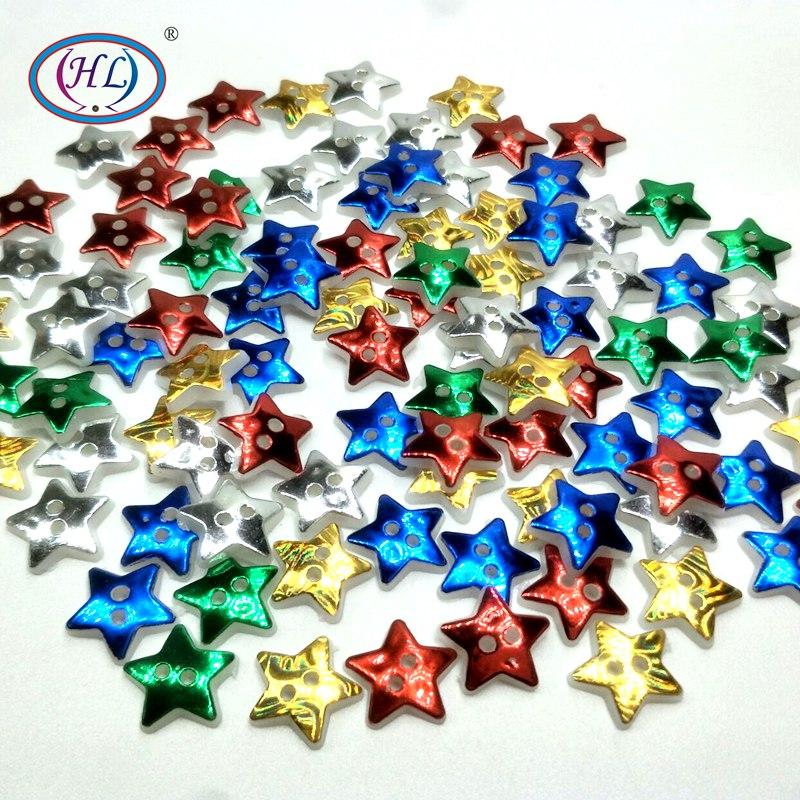 HL 50/100PCS 12MM Star 2 Holes Plastic Buttons Children