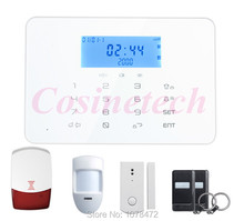 Touch keypad home security PSTN GSM alarm system 433MHZ 868MHZ home alarm system with LCD displays quad-band GSM alarm