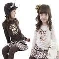 Muchachas de la ropa de leopardo camiseta de la historieta + pantalones faldas 2 unids niños ropa de bebé niña 2017 otoño niño lindo sistemas de la ropa