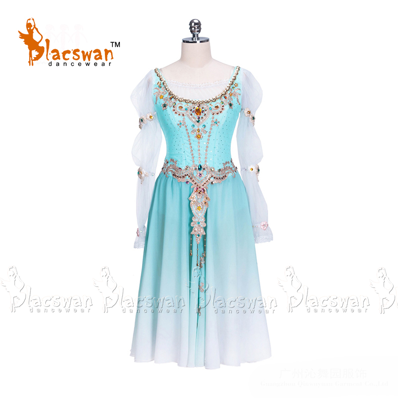 Blue Ballet Dress Costumes Girls Long Fading Chiffon Ballet Dress Professional Stage Performance Ballet Dress Dancewear