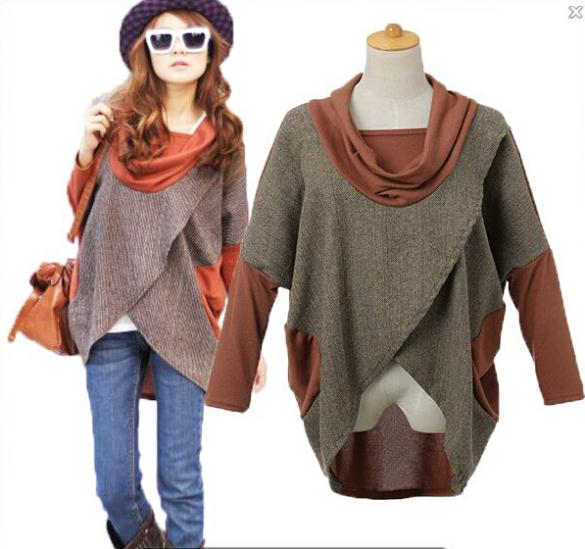 New Autumn Winter Europe Style loose long sleeve Patchwork Cross Sweashirt Street Clothi ...