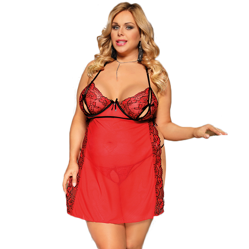 Sexy Dress Erotic Babydoll Plus Size Open Cup Transparent Intimo Donna Sexy Hot Lingerie Erotic Red Lace Nighty For Sex R80746