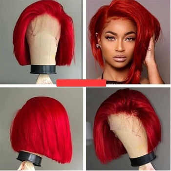 SimBeauty Short Bob Red Straight  Lace Front Human Hair Wig Preplucked Hairline Peruvian Remy burgundy wig With Baby Hair - DISCOUNT ITEM  40% OFF All Category