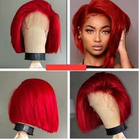 SimBeauty Short Bob Red Straight Lace Front Human Hair Wig Preplucked Hairline Peruvian Remy burgundy wig With Baby Hair