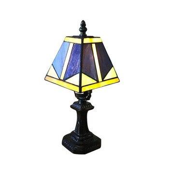 Распродажа винтажная простая синяя настольная лампа Tiffany Glass для фойе, спальни, бара, квартиры, стеклянный ночник H 30 см 1045