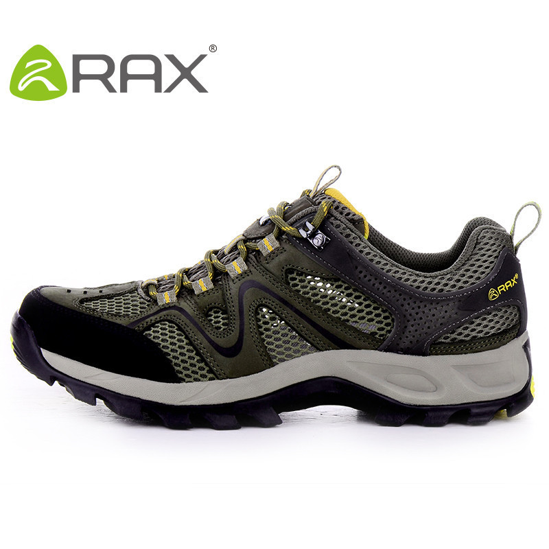 ФОТО RAX Cowhide Male Outdoor Breathable Hiking Shoes For Men Outdoor Trekking Shoes Men Lightweight Leather Climbing Men Shoes Man