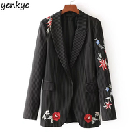 2018 New Striped Women Blazers Long Sleeve Notched Collar Vintage Floral Embroidery Blazer Feminino Elegant Office
