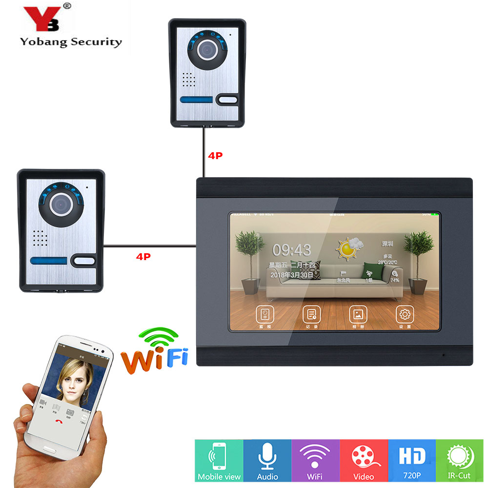 Yobang Security Wireless APP Remote Control Wifi 7 Inch Monitor RFID Video Intercom Doorbell Entry System 2 Camera 1 Monitor