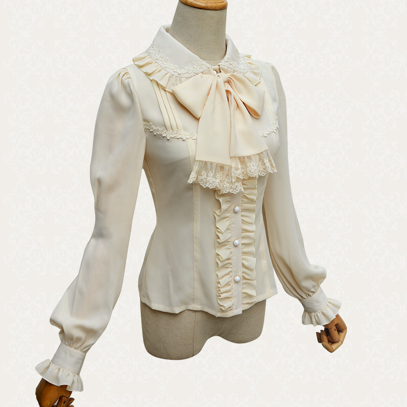 Newest Vintage Women's White And Black Long Lantern Turn-down Collar Chiffon Blouse Shirt Lolita Cosutme