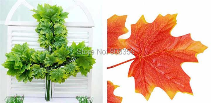 48 ชิ้นประดิษฐ์ Maple Tree สาขา Stem จำลอง Maple Leaf สีแดง/สีเขียวสำหรับงานแต่งงานตกแต่ง