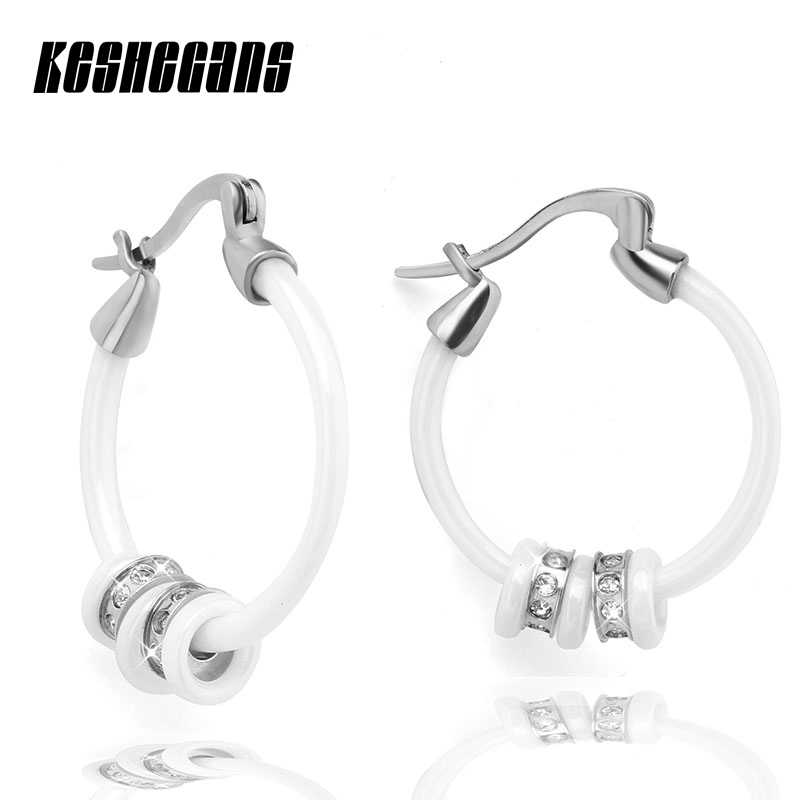 Fashion Women Earrings High Polished Hoop Ceramic Earrings With Luxury AAA Cubic Zirconia Steampunk Girl Earrings Party Jewelry
