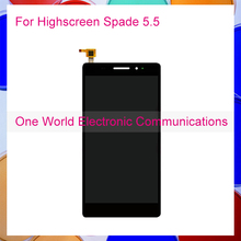 One World 1pcs/lot For Highscreen Spade 5.5 LCD Display With Touch Screen Digitizer Assembly Smartphone Replacement