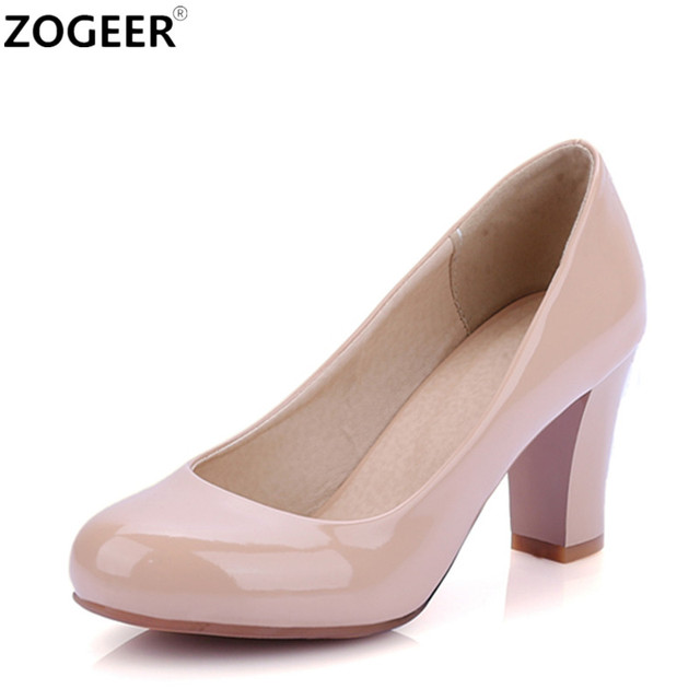 Plus size 46 Spring Classic Women Pumps Fashion High Heel Red White Nude  Office Wedding Shoes Patent Leather Shoes Woman a6ec151f0444