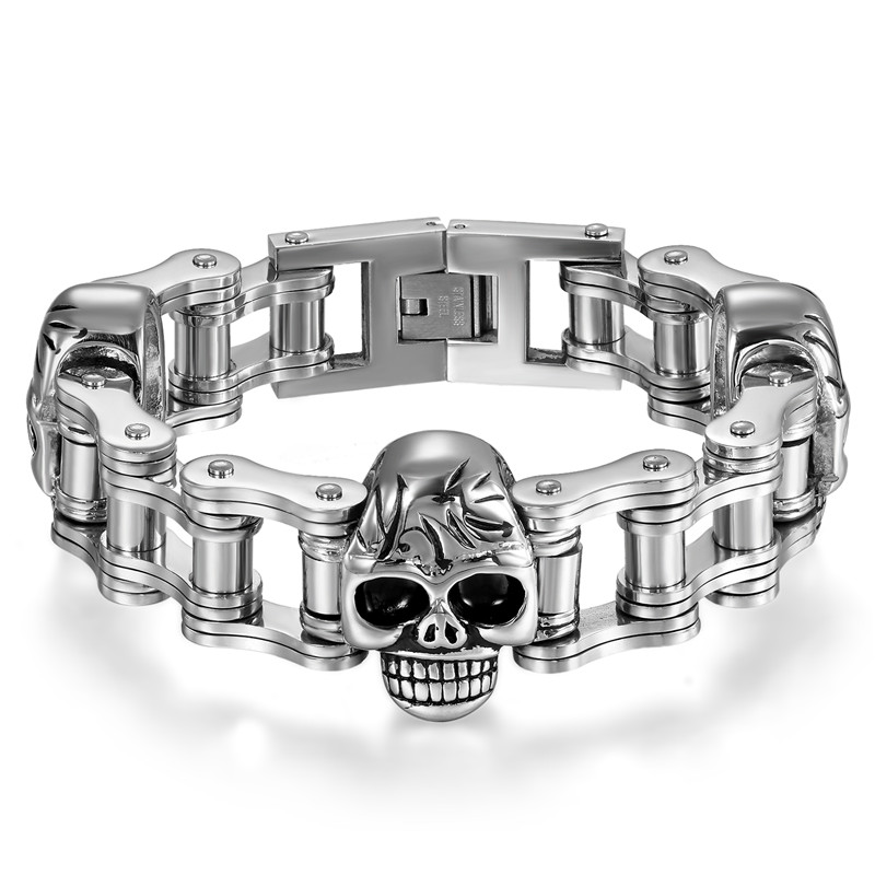 Boniskiss 2017 22MM Mens Sport Wristband Boys Silver Stainless Steel Skull Bracelets Biker Motorcycle Chain Bracelet punk 316l stainless steel bracelet men biker bicycle motorcycle chain men s bracelets mens bracelets