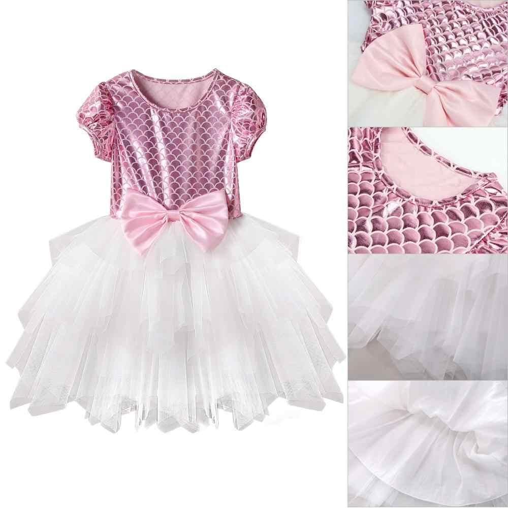 Niño pequeño bebé niña princesa chico ropa de cuello redondo manga corta borla tul poliéster partido Mini vestidos de una pieza vestido de niña