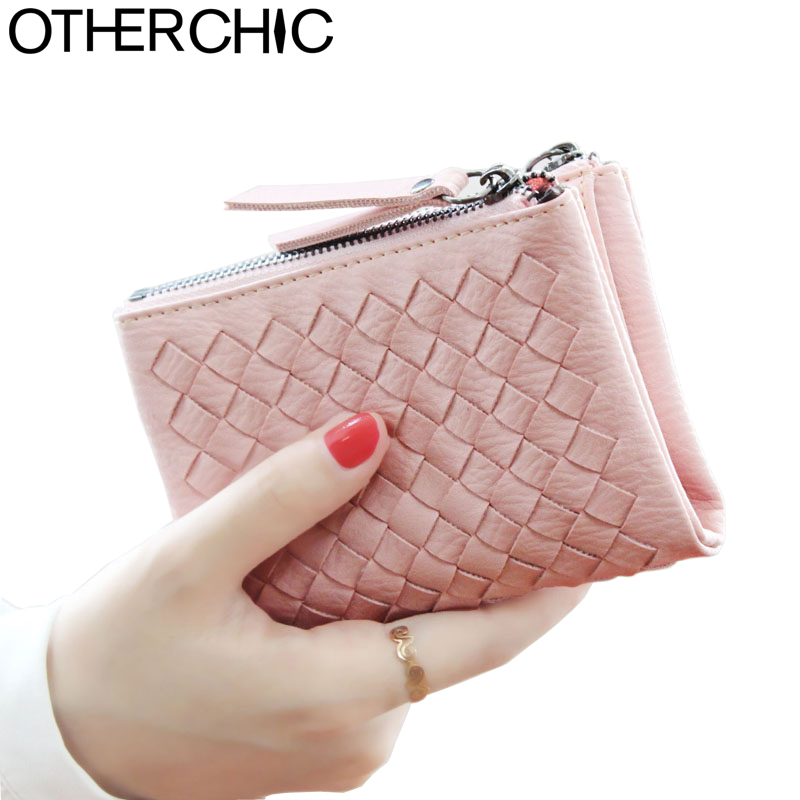 OTHERCHIC Women Woven Short Wallets Ladies Small Wallet Zipper Roomy Coin Pouch Female Card Wallet Purses Money Clip 6N04-18 otherchic women short wallets small simple wallet zipper coin pocket purse woman female roomy wallet purses money bag 7n01 14