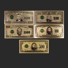 5Pcs/Set Banknotes 500 1000  5000 10000 100000 US 1918 Realistic Gold Antique Plated Souvenir Gifts Home Decor