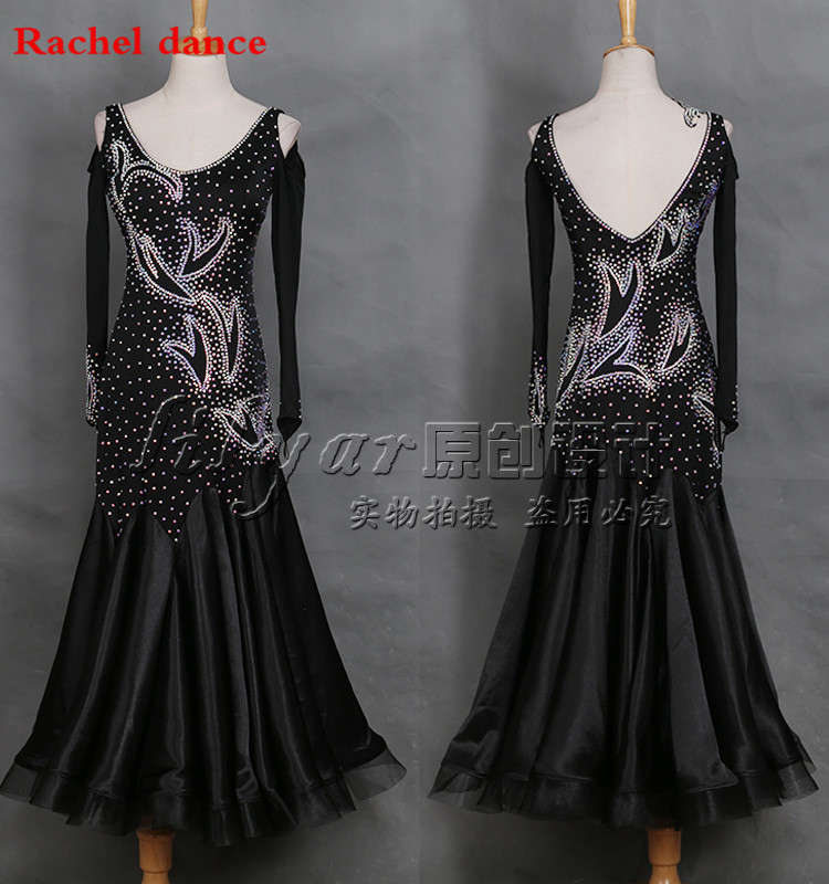 2017 New Woman High End Big Wwing Standard Ballroom Dance Costume Dress For Competition Sequins Waltz