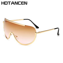HDTANCEN New Oversize Shield Sunglasses Big Frame Alloy One Piece Sexy Cool Sun Glasses Women Gold Clear Eyewear Gradient Aviato