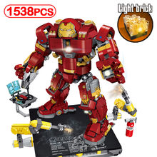 1538pcs LED Light Brick Super Heros Mech Compatible With LegoINGlys Anti-Hulk Armor Model Building Blocks Toy For Children Gifts(China)