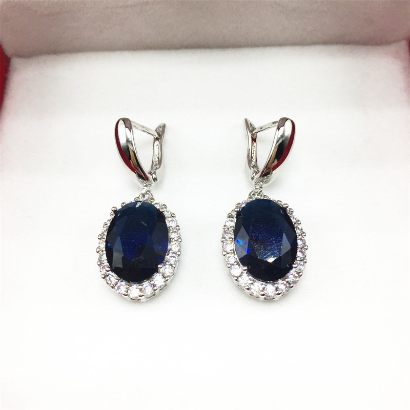 Aisure Dark Blue Stones Silver Color Jewelry Earrings For Women Bracelets Long Free Shipping In Drop From Accessories On