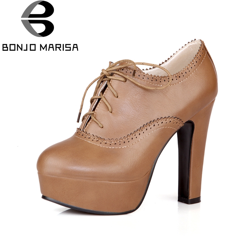 BONJOMARISA 2018 Platform Lace Up Women Pumps Woman Fashion High Heel Round Toe Woman Shoes Summer Size 34-39 bonjomarisa women s high heel wedge