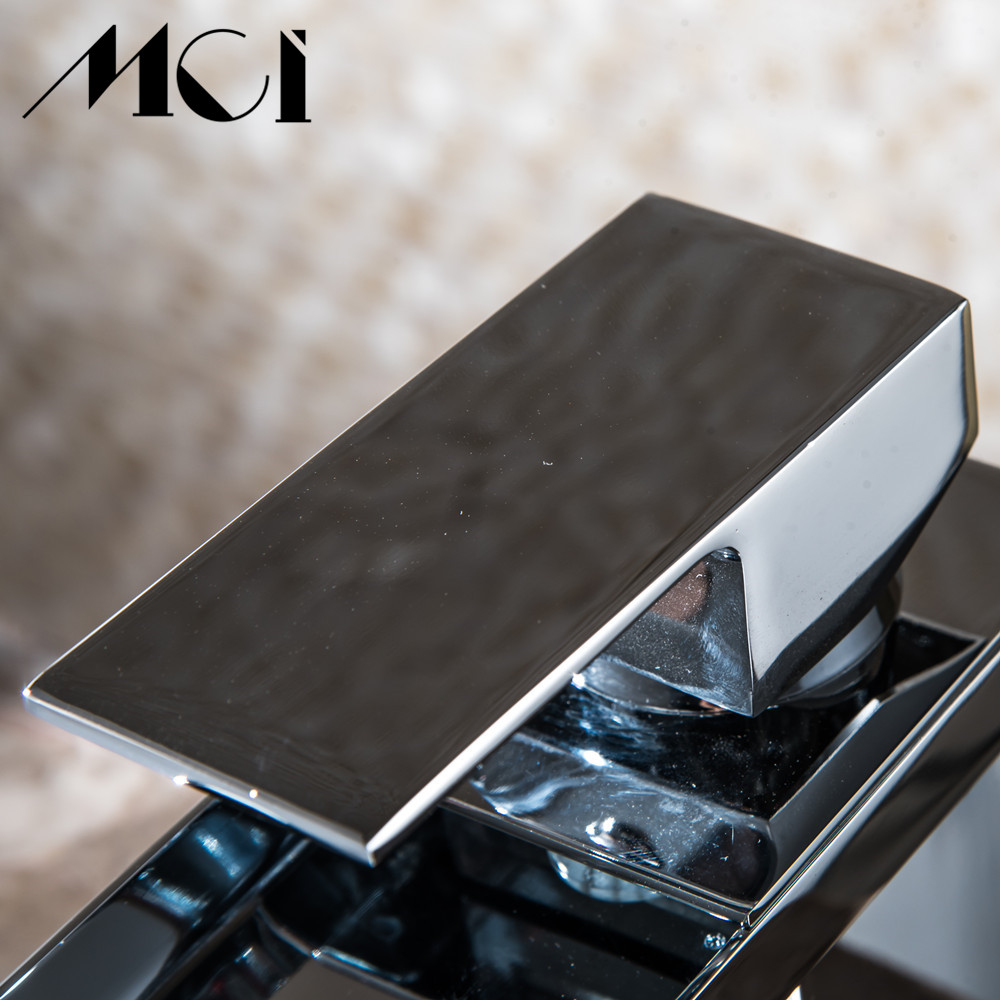Salle de bain cascade robinet à LED. Robinet de lavabo en laiton avec cascade en verre. Mitigeur salle de bain robinet pont monté bassin sin Torneira Cozinha - 5