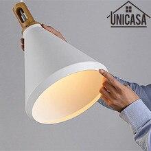 лучшая цена Wood pendant lights Vintage white Ceiling lamp for home lighting Modern lamps Bar light fixture kitchen LED metal aluminum new
