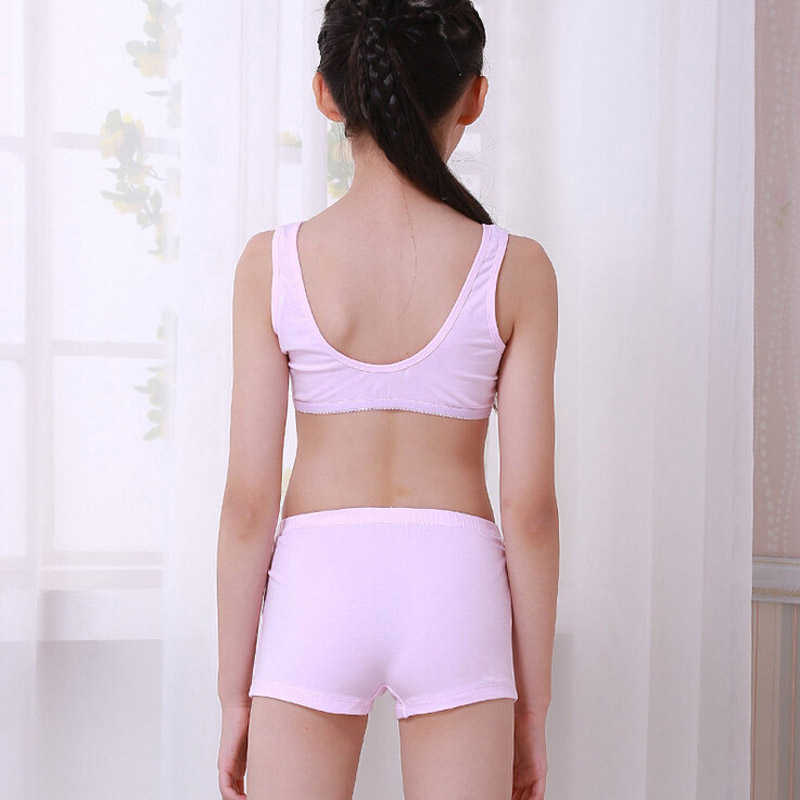dd44ec1b5d ... 4sets lot Puberty Young girl student Teenagers cotton underwear set  with Training Bras camisole vest ...