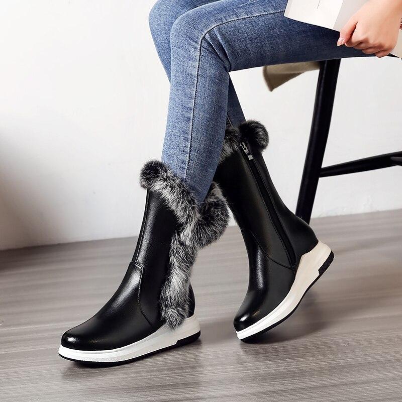 Zapatos 33 Invierno De 2018 Nieve Más 43 Botas Fácil Tamaño Calientes La Zip Desgaste Felpa white Black Mujeres Blanco XxwAXSqP