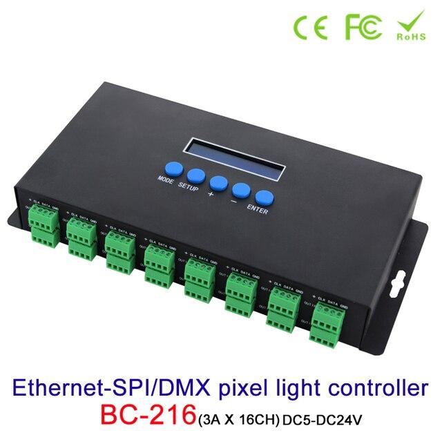 جديد Artnet إيثرنت إلى SPI/DMX بكسل مصباح ليد تحكم BC 216 DC5V 24V 3Ax16CH دعم Artnet/Artnet و sACN E.1.31 بروتوكول