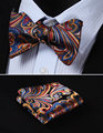 BF431B Blue Orange Floral 100%Silk Woven Men Butterfly Self Bow Tie BowTie Pocket Square Handkerchief Hanky Suit Set #I3