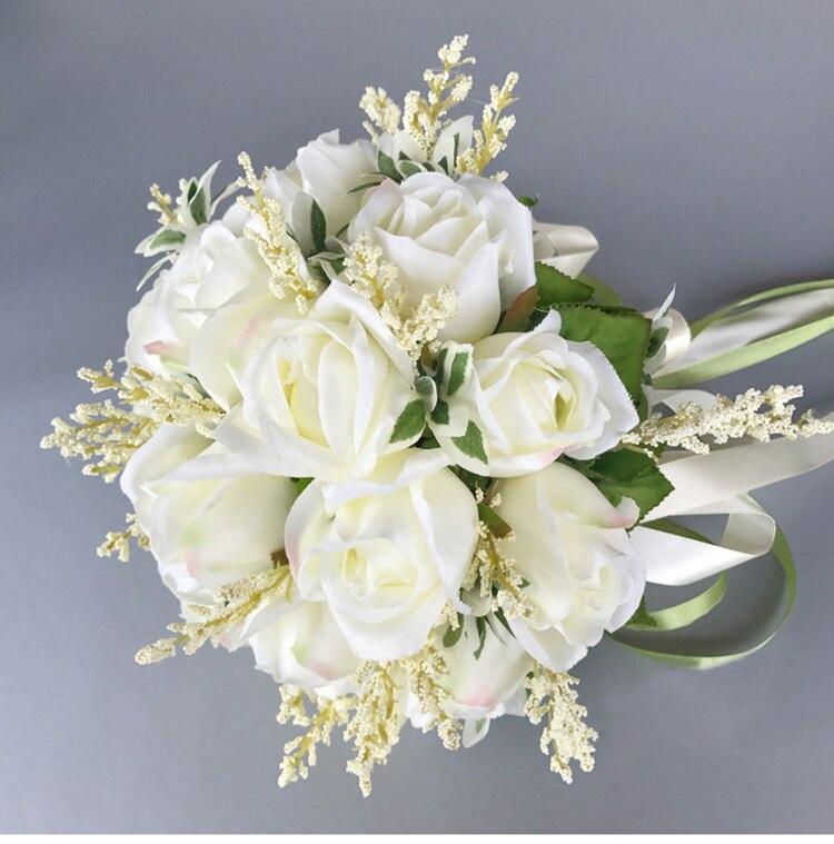 white pink silk flowers bridesmaids bridal Wedding Bouquets rose flowers (5)