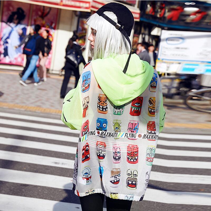 Veste Manches De Picture Color Longues Manteau Jq737 2018 Dessin À Lettre Mode Nouvelle Occasionnel Femme Femmes Animé Imprimer Capuche Oversize Outwear Printemps Été Wn1q1SB8