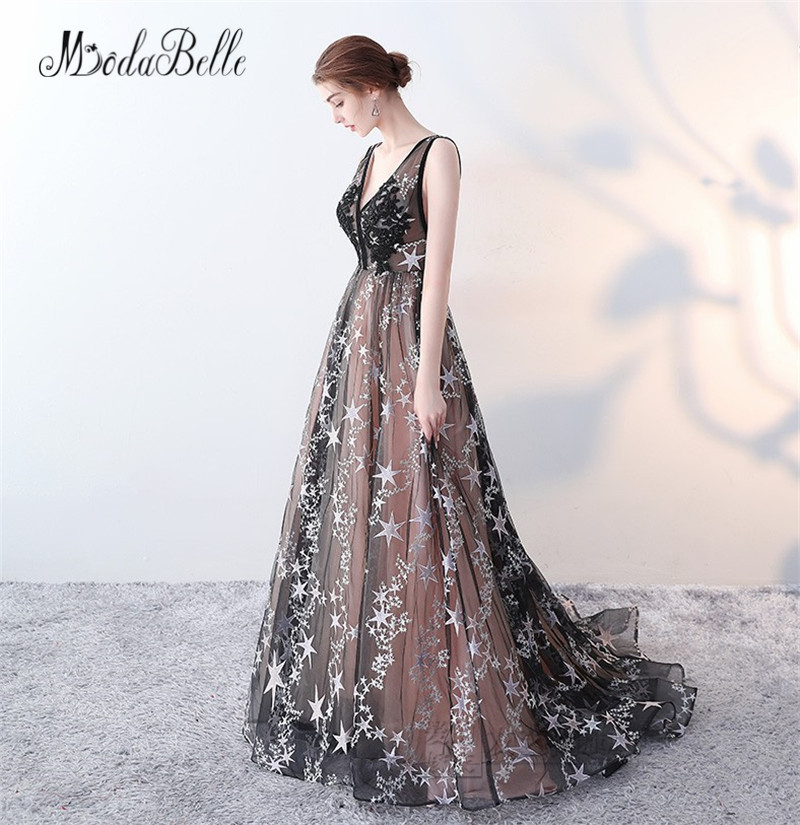 modabelle 2018 New Prom Dresses Sexy Open Back Applique Patterns Tulle Party  Long Engagement Dress Robe Orientale Soiree -in Prom Dresses from Weddings  ... afcdfa07f074