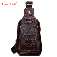 CONTACT S Fashion Leather Genuine Men Bag Brand Alligator Leather Vintage Shoulder Bags Famous Brand Small
