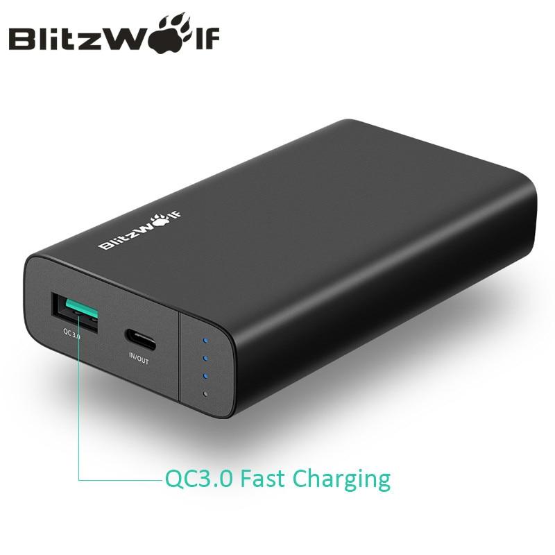 BlitzWolf 10000 mAh Energienbank 18 Watt QC3.0 Typ C Power Dual USB Ladegerät externe Akku Schnellladung Für iPhone X 8 7 6