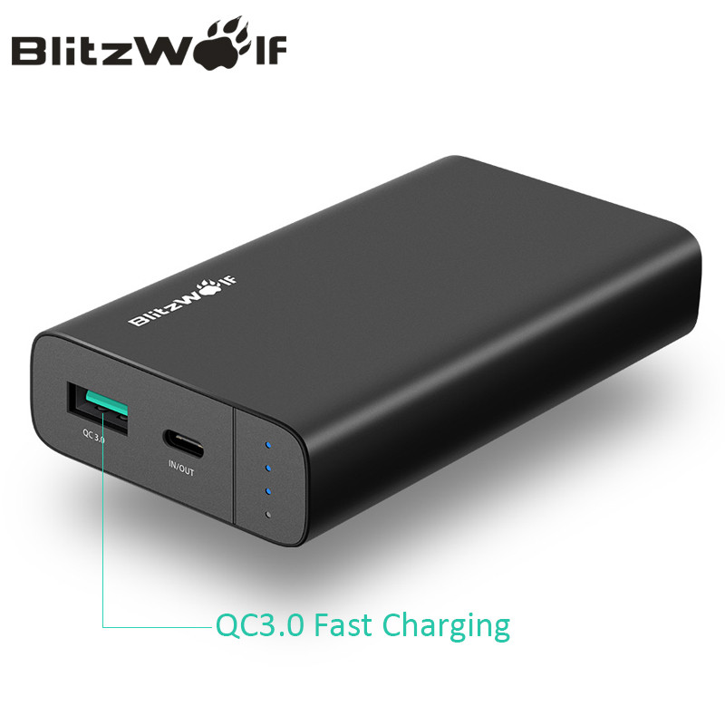 BlitzWolf 10000mAh Power Bank 18W QC3.0 Type C Powerbank Dual USB Charger External Battery Pack Fast Charging For iPhone X 8 7 6