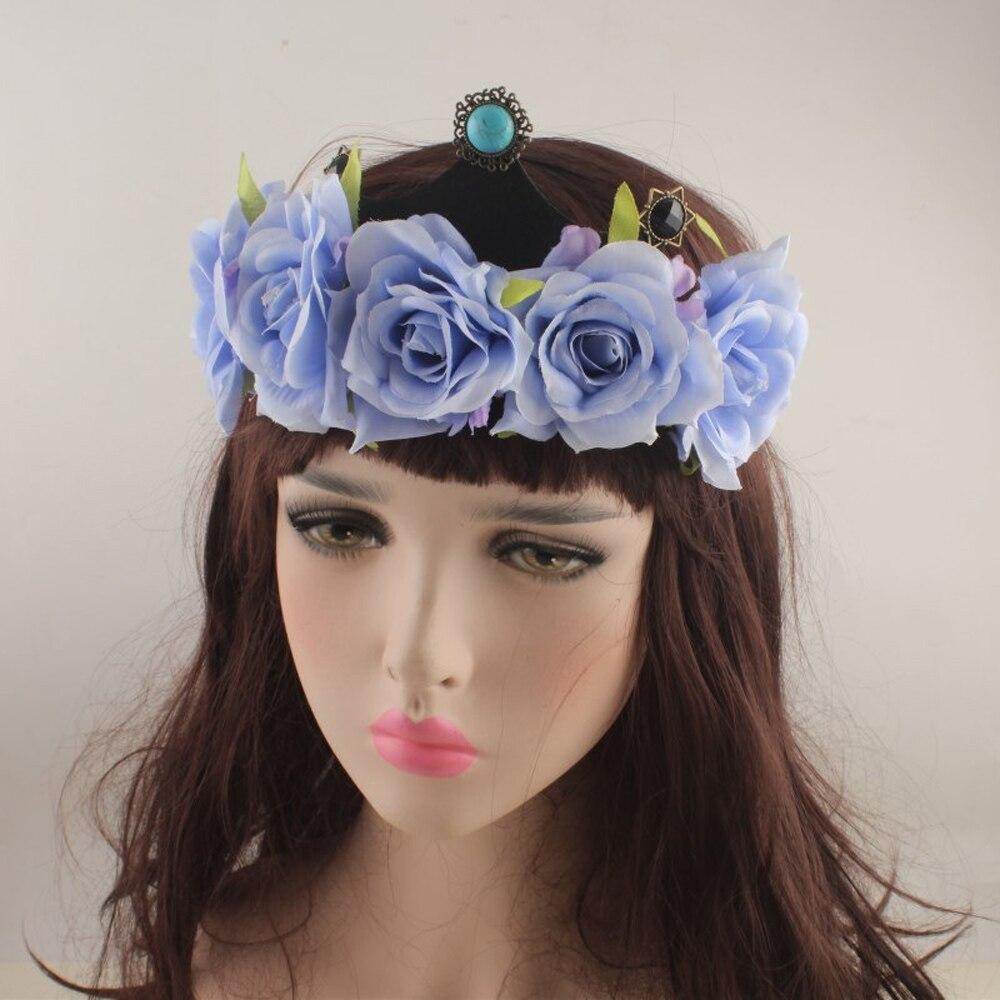 Red Rose Flower Crown Headband Head Band Floral Head Wreath Headpiece Girls Hair Accessories Bridal Wedding Headwear