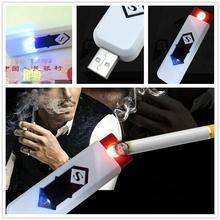 Новый USB Аккумуляторная Непламено Сигары Электронные Сигареты Прикуривателя Нет Газ гаджет Белый