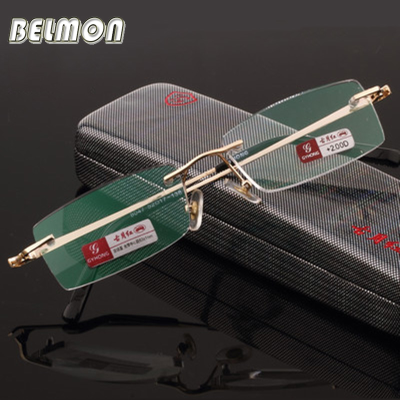 Pure Titanium Frame Magnetisk Reading Glasses Crystal Rimless Diopter Glasses Presbyopic Eyeglasses + 1.0 + 1.5 + 2.0 + 2.5 + 3.0 + 3.5 + 4.0