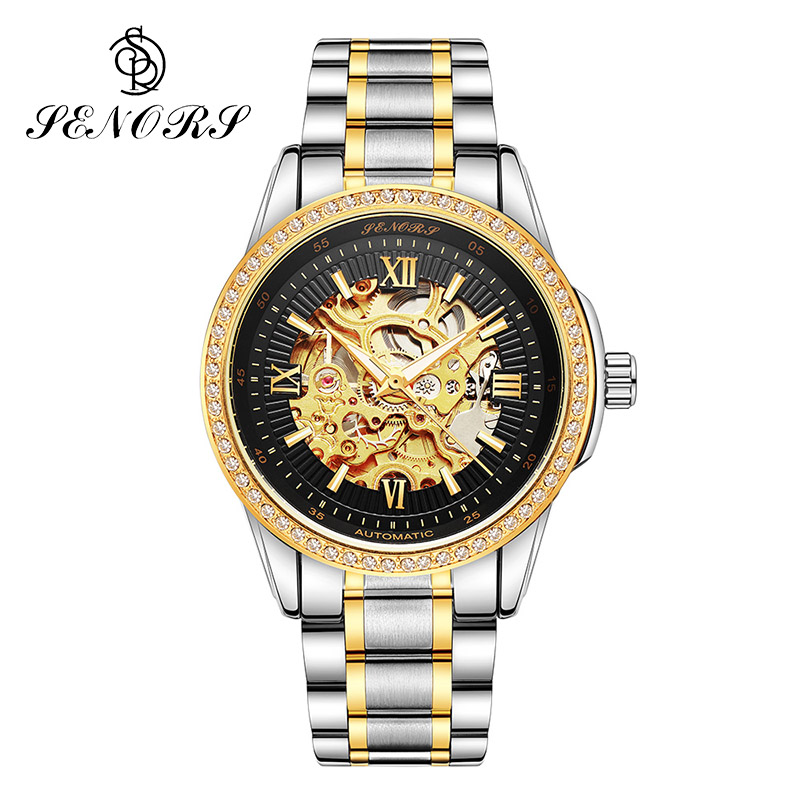 Senors Luxury Roles Gold Skeleton Automatic Mechanic Men Watch Male Solid Stainless Steel Band Business Style Clock