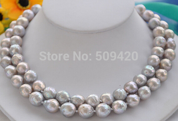 Free Shipping >>2row 12mm gray almost round Edison PEARL NECKLACE