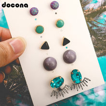 Docona Colorful Geometric Stone Crystal Blue Gem Piercing Stud Earring Set for Women Punk Boho Party Wedding Jewelry Gift 8136(China)