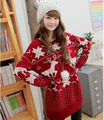 2016 New Fashion Korean cute little deer maple leaf pattern Christmas festive wool sweater