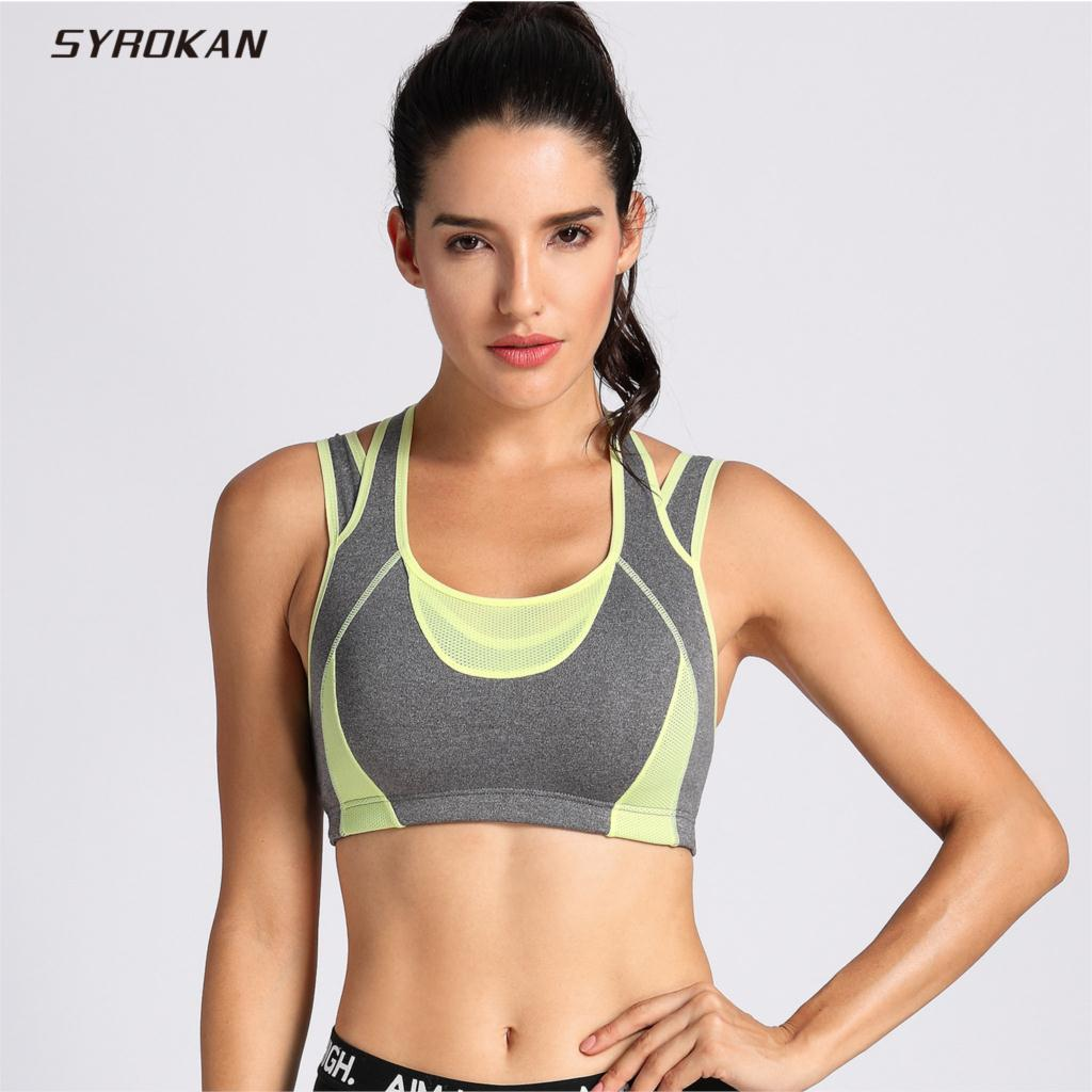 SYROKAN Women's High Impact Support Workout Racerback Wirefree Sports Bra Top