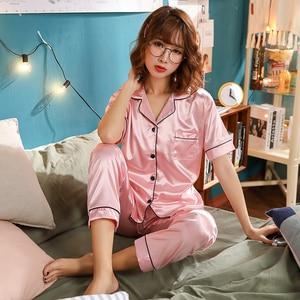 Image 2 - Women Silk Pajamas Satin Pajamas Sets Sleepwear Short Sleeve Top+Long Pants Pajamas Home Clothing Pyjama Night Suit